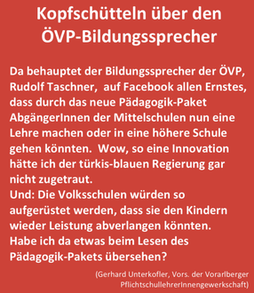 Kopfschütteln über den ÖVP-Bildungssprecher  Bild: FB Gerhard Unterkofler SLV