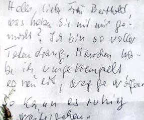 Foto des handschriftlichen Dankes-Briefen