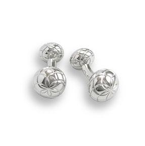 Silberne Manschettenknöpfe mit Blüten Muster Ornament