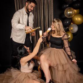 vrouw met champagne