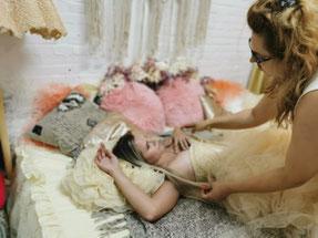 model in the sleeping room