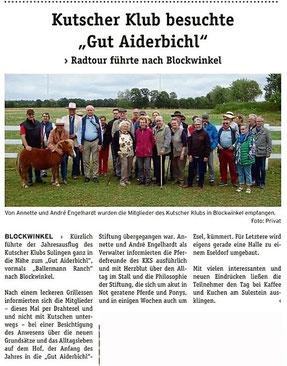 WOCHENPOST: Kutscher aus Sulingen bei Annette u. André Engelhardt auf der BALLERMANN RANCH
