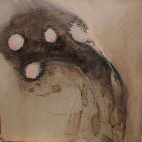 Nr. 2013-HO-008: 40 x 40 cm, Hanf, Acryl, Aquarell. auf schwarzem MDF