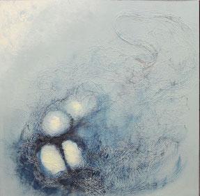 Nr. 2013-HO-009: 40 x 40 cm, Hanf, Acryl, Aquarell auf schwarzem MDF