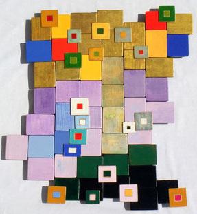 Ellen Roß: Der persische Baum, 2011, Assemblage, Vinyl und Lack auf Holz, ca. 55 x 72 cm