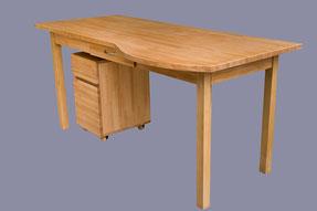 bureau avec arrondi en lamellé collé hêtre, avec son caisson