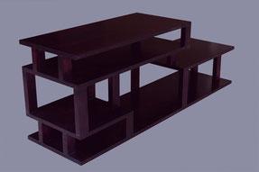 meuble étagères asymétriques en épicéa teinte acajou