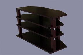 meuble TV avec 4 étagères en épicéa teinte acajou