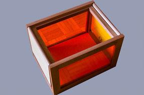 boite de rangement en sipo, chêne et plexi - vue ouverte