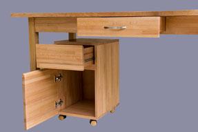 bureau avec arrondi en lamellé collé hêtre, gros plan sur le caisson