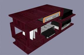 Meuble a glisser sous un bureau, projet en 3D