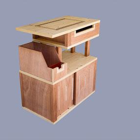 commode avec portes coulissantes et 2 tiroirs, sipo et contreplaqué