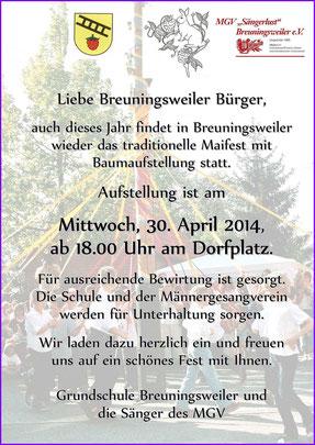 Einladung zum MGV Maibaumaufstellen, 30.04.2014, 18 Uhr