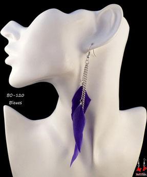Boucles d'oreilles trois plumes pendantes bleues et chaines argentées