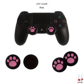 Paire de grips de protection noirs à pattes de chiens roses en silicone pour joysticks de playstation 4