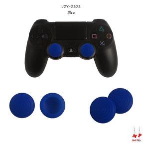 Paire de grips de protection bleus en silicone pour joysticks de playstation 4