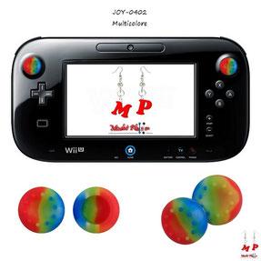 Paire de grips de protection multicolores en silicone pour joystick de gamepad Wii U
