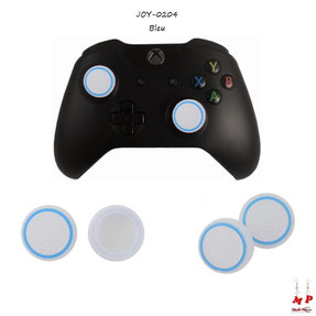 Paire de grips de protection blancs translucides et bleu ciel pour joysticks de manettes Xbox One et autres consoles