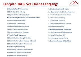 Lehrplan Online Lehrgang TRGS 521 - KMF Schulung TRGS 521