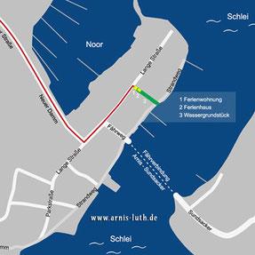 Stadtplan Arnis mit Lage und Anreise Domizil Luth