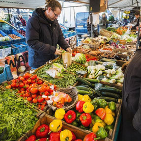 A market stall of vegetables in Amsterdam