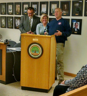 l to r: Councilman Tom Kranz, Mayor Colleen Mahr, Fire Company President Rick Regenthal