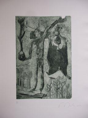 Jongleries, eau-forte et burin, plaque 20 x 30 cm