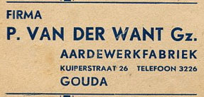Details van briefenvelop van firma Van der Want