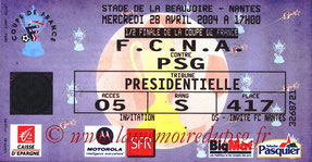Ticket  Nantes-PSG  2003-04
