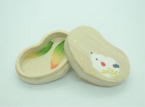 ハート型桐小箱 「花飾り」