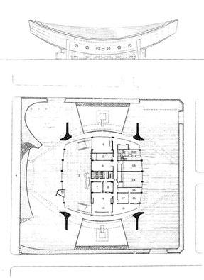「香川県立体育館」 上:立面図 下:平面図