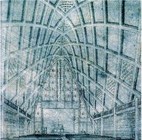 「広島平和記念カトリック聖堂」 内観パース 1948年
