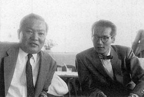 左が金子正則知事、右が丹下研究室の担当者神谷宏治
