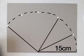 定規を中心から15cm間隔で印をつけていき、印に沿ってカット
