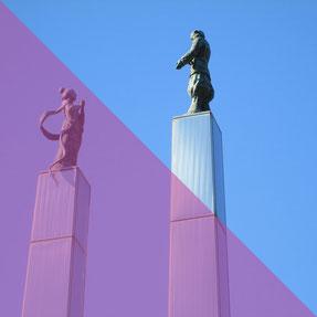 木更津市のシンボル大田山公園の大和武尊(やまとたける)弟橘比売(おとたちばなひめ)の像
