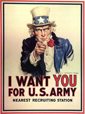 Tío Sam. Propaganda utilizada por Estados Unidos para reclutar soldados.