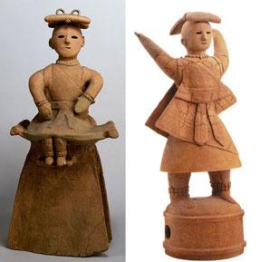 弥生時代の女性と思われる埴輪----男女とも前に帯をたらしているのが特徴、木綿の帽子もこんな感じ?