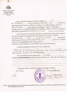 Contrato con la Hermandad de San Gonzalo año 82