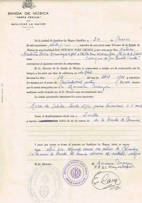 Primer contrato de la banda con la Hermandad de San Gonzalo año 76