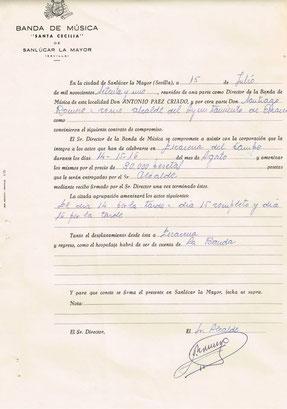 Contrato con el Ayuntamiento de Escacena del Campo para la Virgen de Luna del año 1971