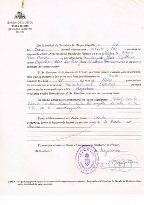 Contrato con la Hermandad de San Gonzalo año 83
