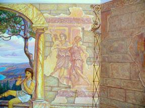 "Роспись стен бассейна ""Музыка пастушка"", фрагмент."