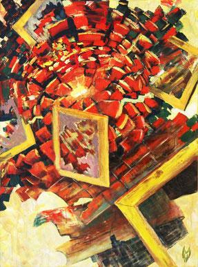 "Hworost Maria, ""Explosion"", Öl auf Leinwand, 40  x 80 cm, 2012, gerahmt"
