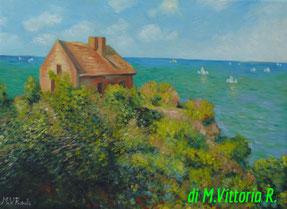 la casa del pescatore, copia d'autore C. Monet, olio su tela cm 30x40 anno 2015