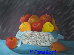 apples and pears, oil on canvas, cm 30x40, 2006