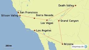 Bild: Karte Westküste der USA