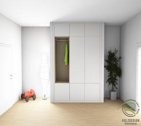 3D-Entwurfsplanung für unsere Kunden von weißer Garderobe mit furnierter Eiche Garderobennische, Nischengarderobe in weiß als 3D Zeichnung