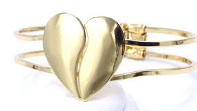 bracelet femme manchette coeur doré