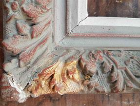 La restauration permet de découvrir la dorure d'origine du cadre / Photo atelier