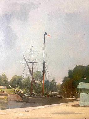 Le port d'Abbeville, détail après restauration, ciel éclairci et nuancé, voilier amarré / Ph A. J.